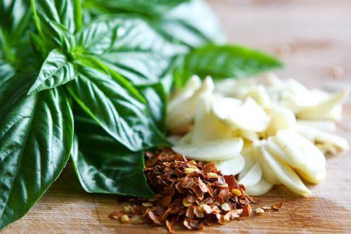 basil and garlic