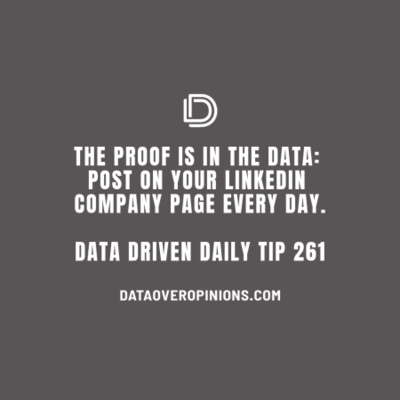 Ep.139: Post On Your LinkedIn Business Page Every Day: Data Driven Daily Tip 261