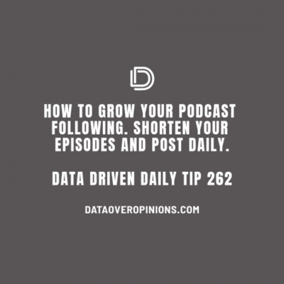 Ep.140: How To Grow Your Podcast Following- Shorten Your Episodes and Post Daily: Data Driven Daily Tip 262