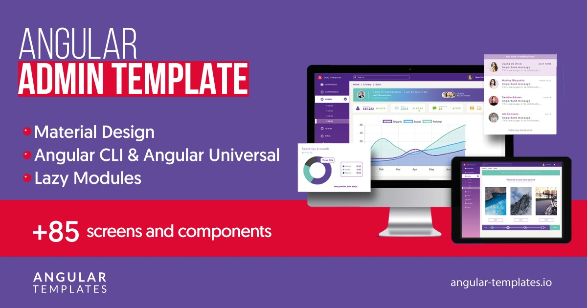 Angular Admin Template Angular 7 Universal Material Design