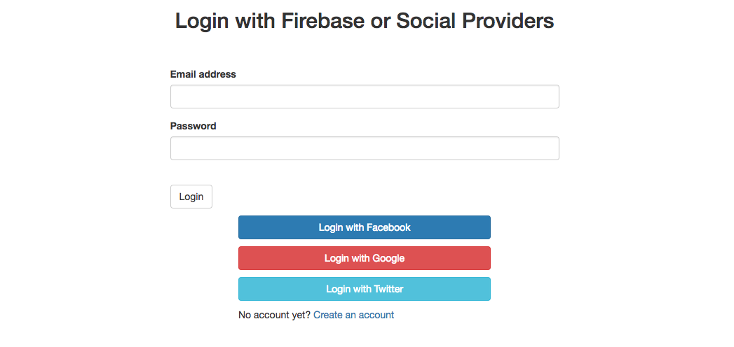 Login with Firebase or Social Providers