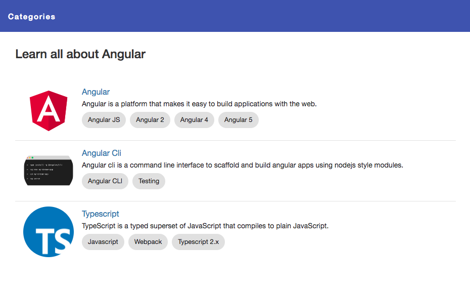Building a complete Angular app step by step categories screen
