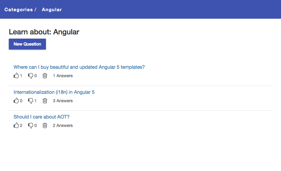 Building a complete Angular app step by step questions screen