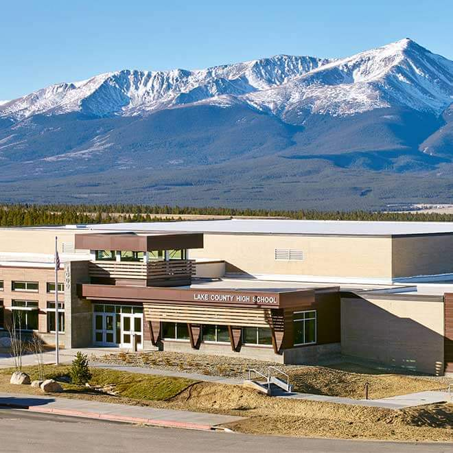 Lake County High School Addition and Renovations Exterior View with Mountains