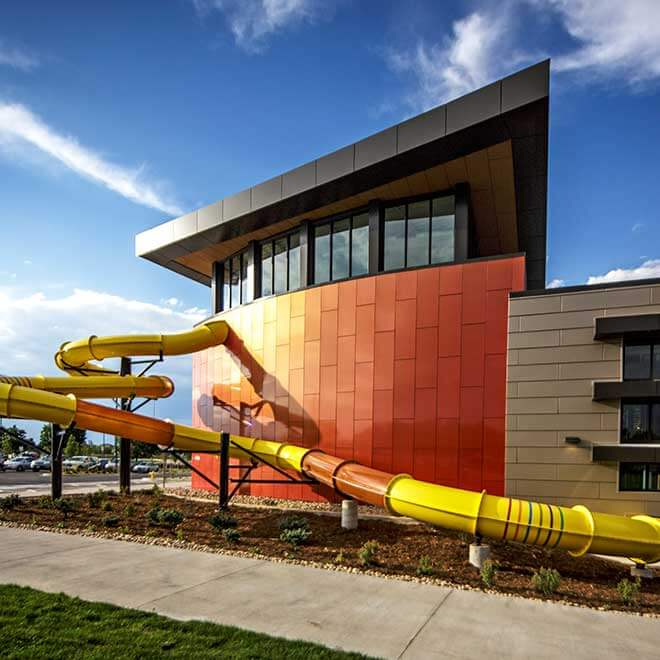 Parker Recreation Center Exterior View with Slide