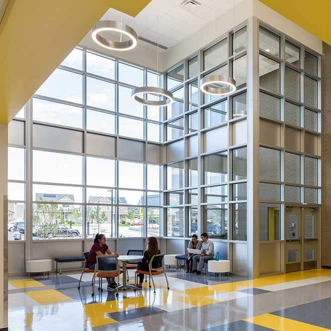 Denver Public Schools Far Northeast Campus Common Space with Windows for Daylighting