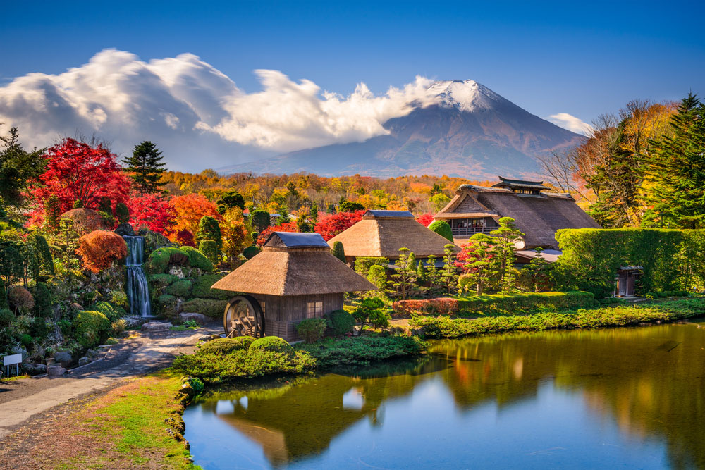 Oshino, Japan historic thatch roof farmhouses with Mt. Fuji. Photo: Shutterstock