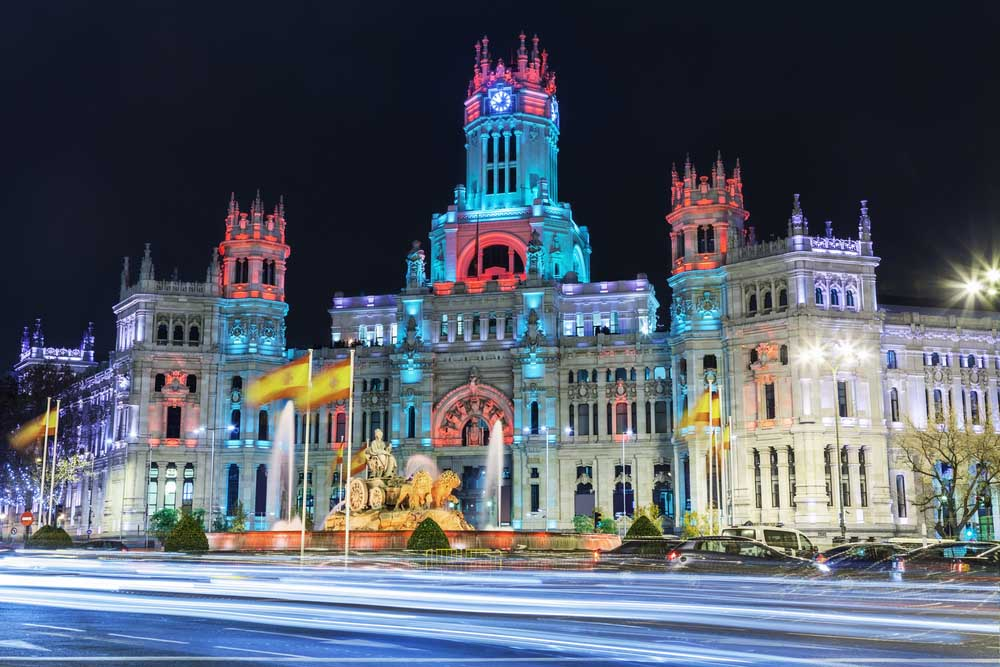 Cibeles square at Christmas, Madrid
