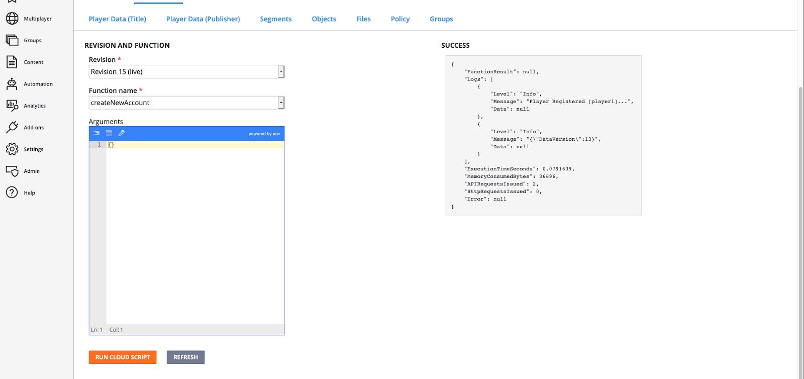 CloudScript test response
