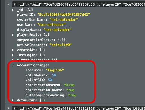 JSON settings data