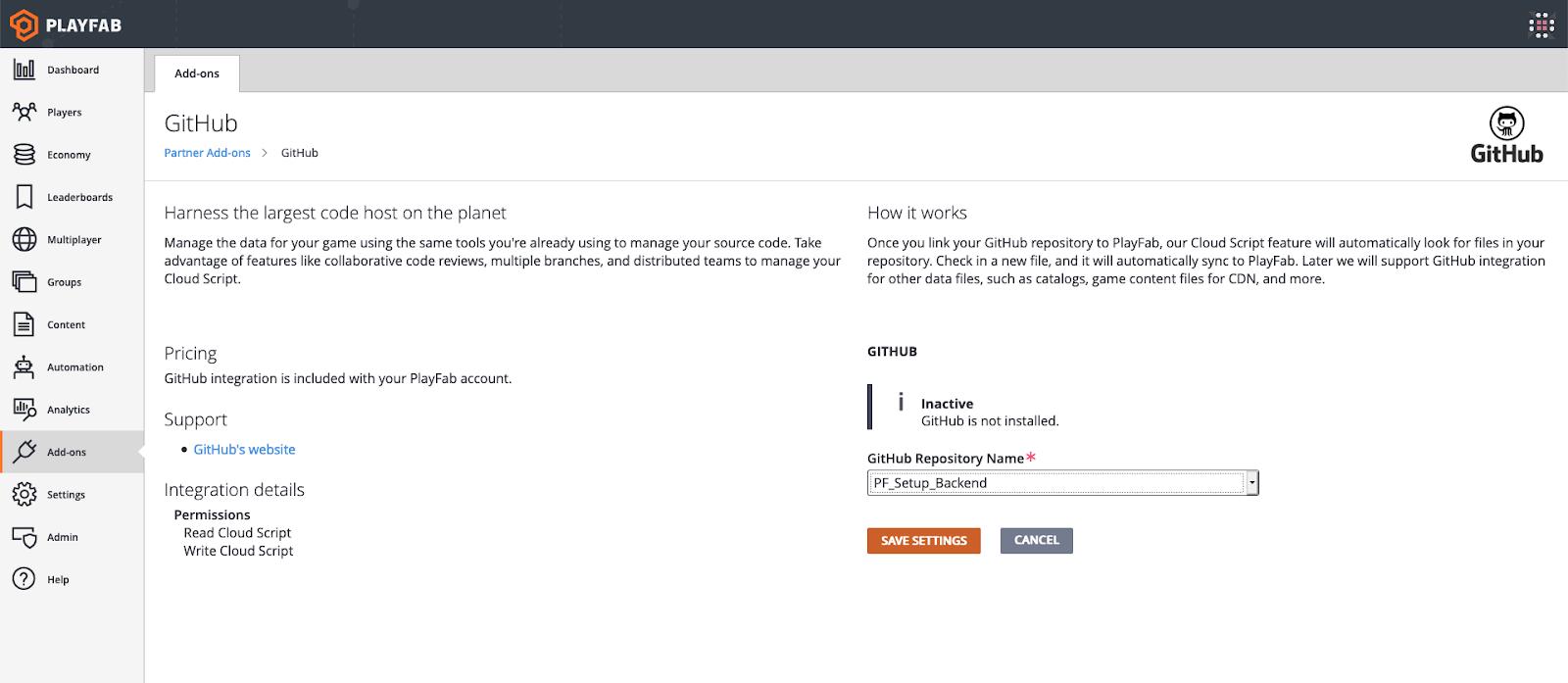 PlayFab GitHub Add-on