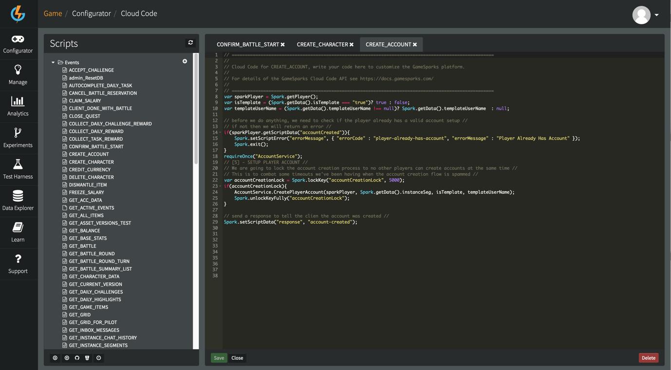 Example LogEvent script in GameSparks