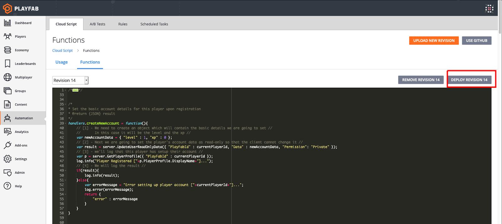 CloudScript revision number