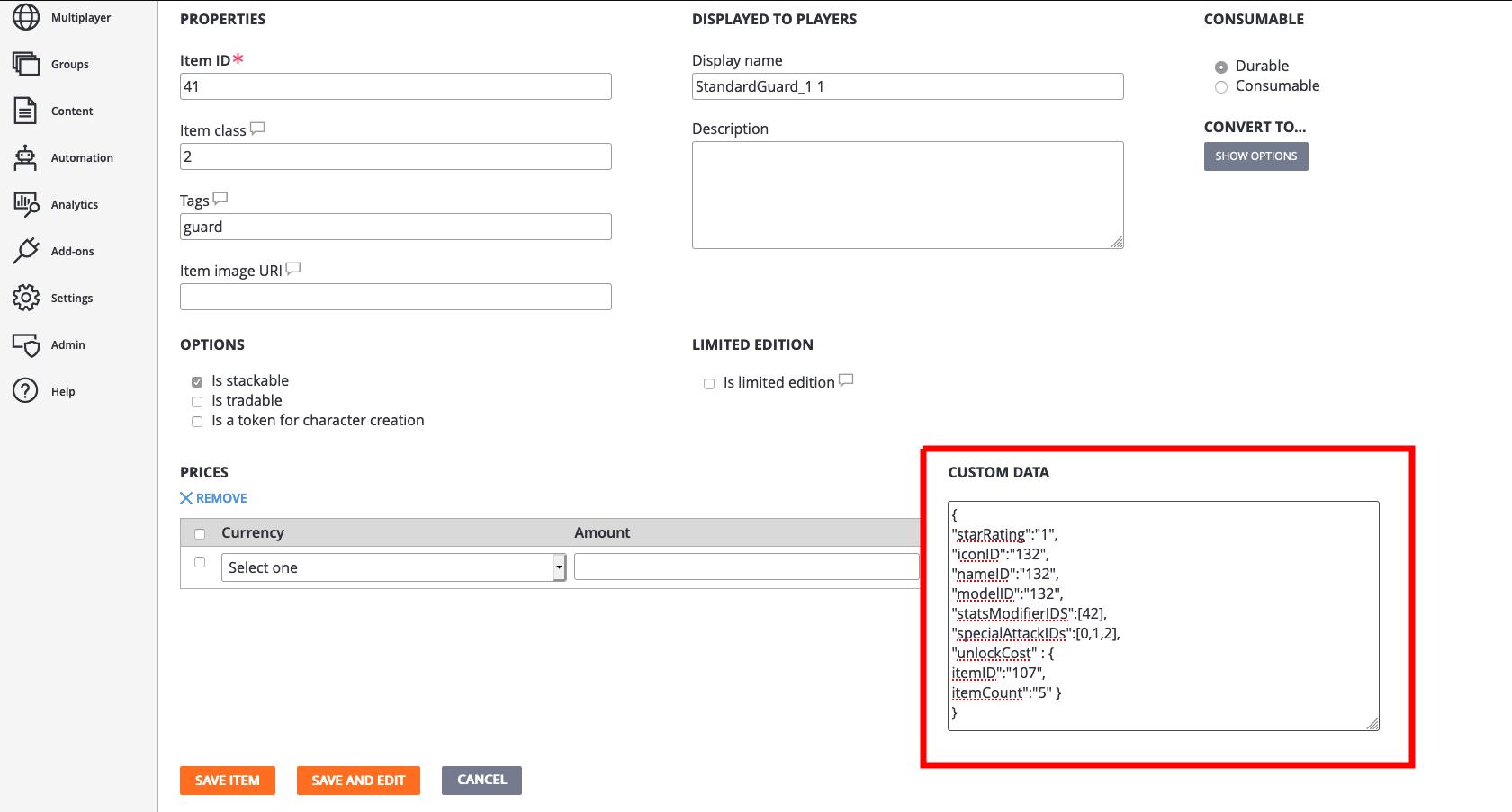 Adding custom JSON data