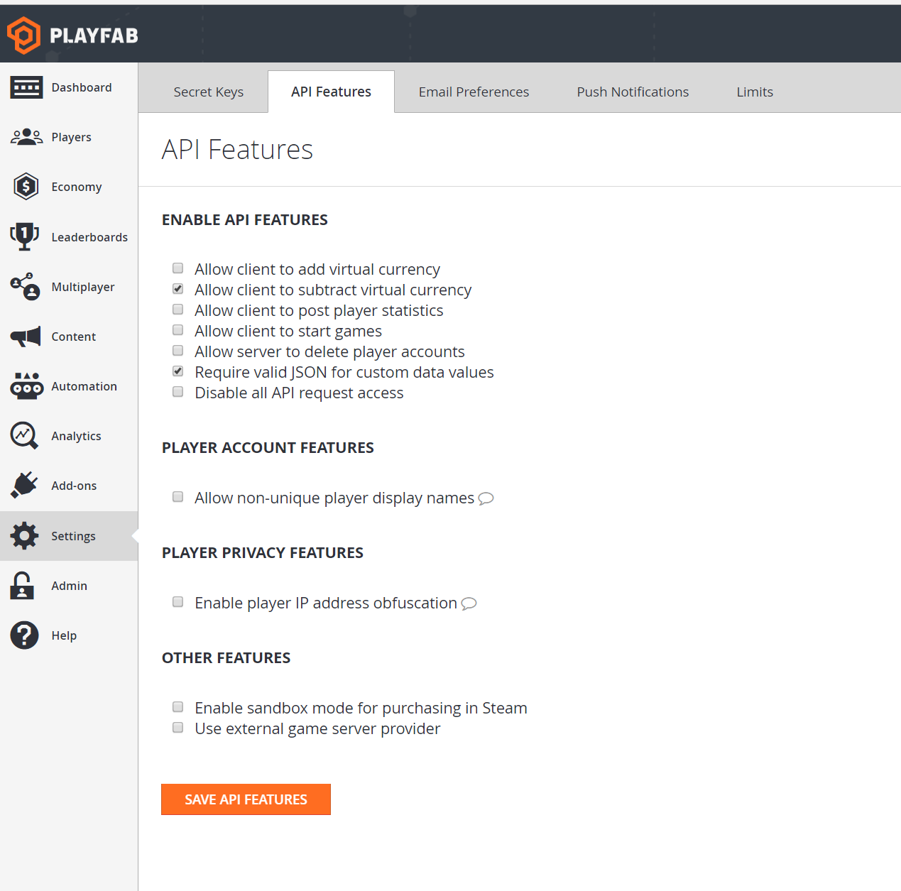 Api feature settings in the playfab game manager this gives you tools for managing access privacy and others they can be seen in game manager in settings api features malvernweather Image collections