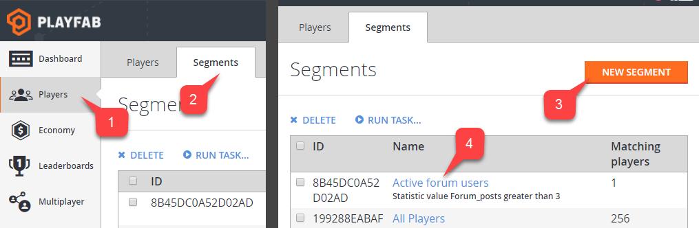 players segment configuration