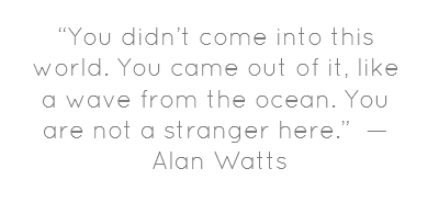 """You didn't come into this world. You came out of it, like a wave from the ocean. You are not a stranger here.""