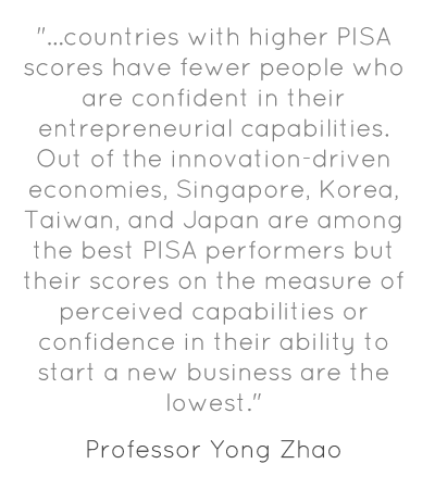 """...countries with higher PISA scores have fewer people who are confident in their entrepreneurial capabilities. Out of the innovation-driven economies, Singapore, Korea, Taiwan, and Japan are among the best PISA performers but their scores on the measure of perceived capabilities or confidence in their ability to start a new business are the lowest."""