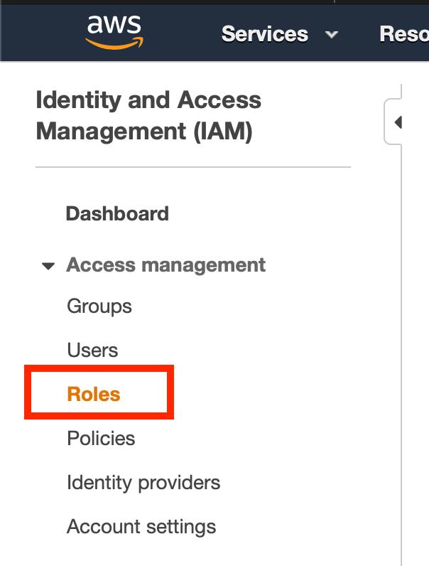 AWS IAM Roles Console