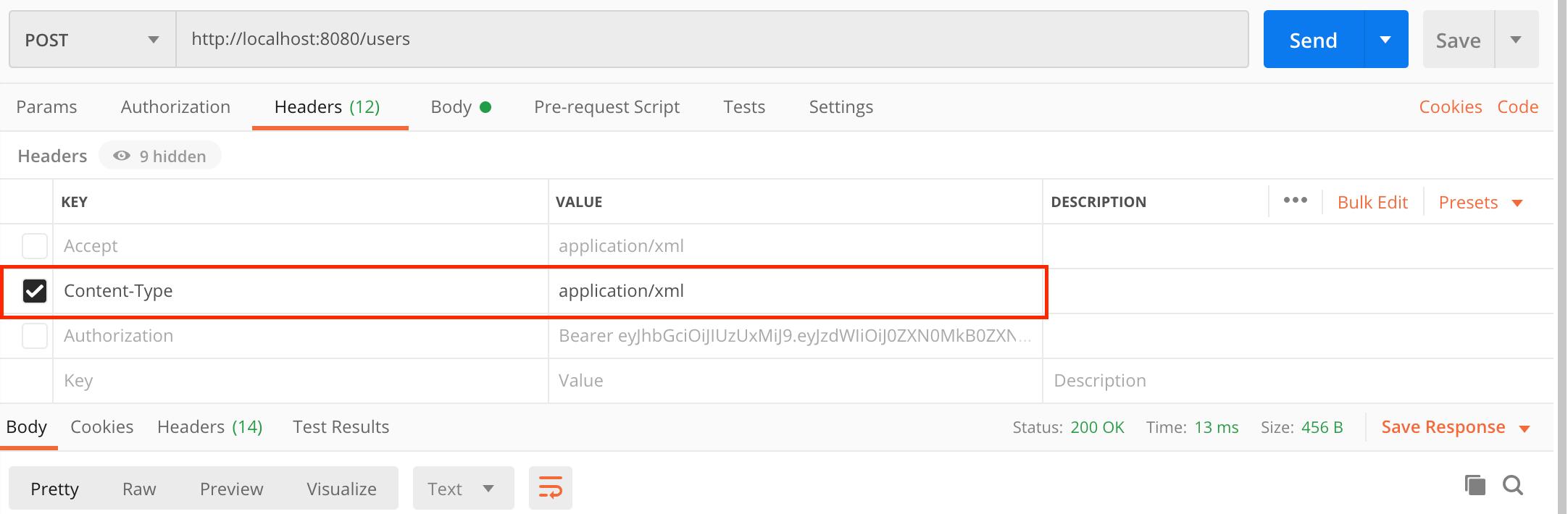 XML Content-Type HTTP Header in Postman