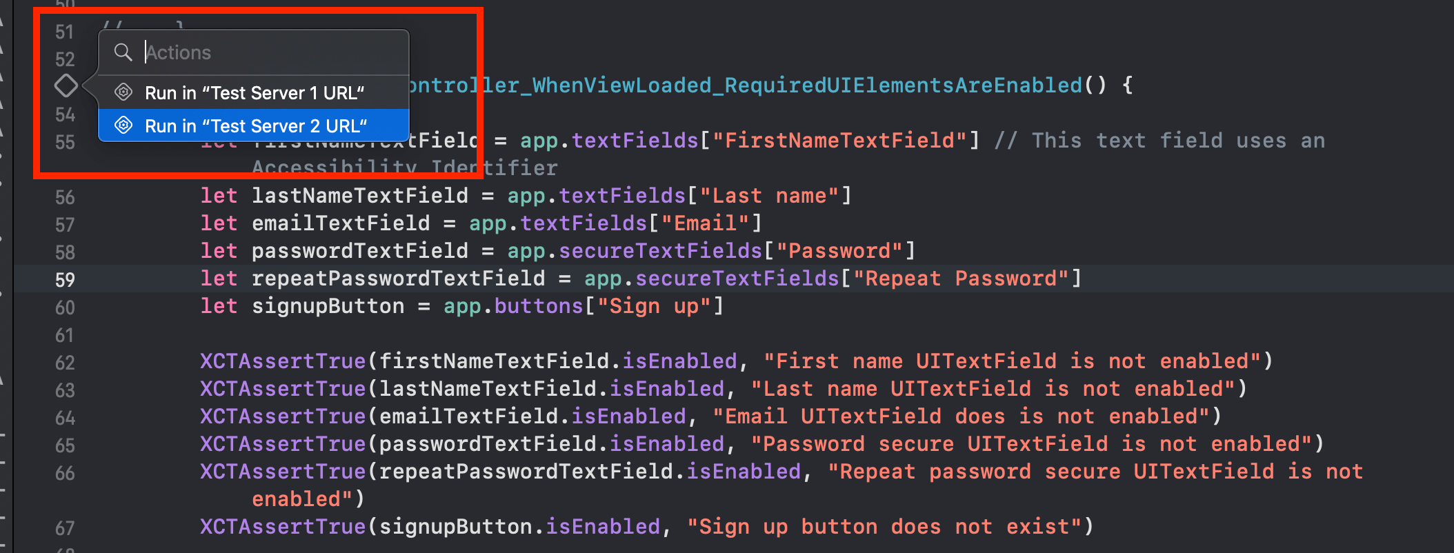Running UI Test method with selected test plan configuration