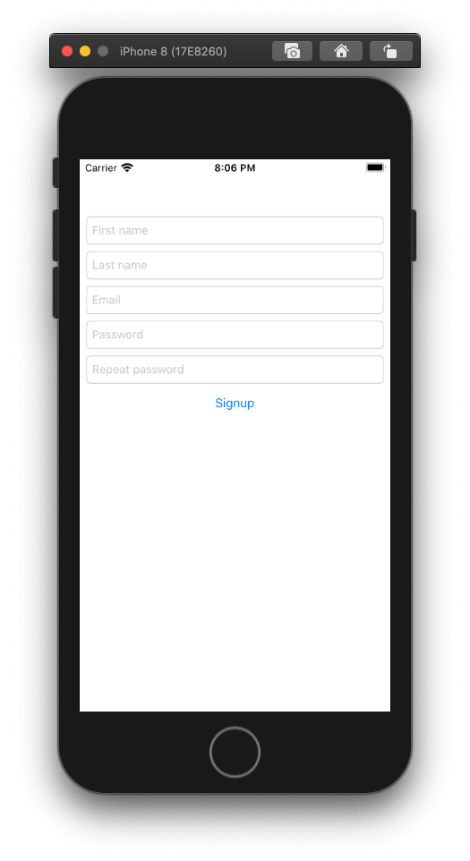 iPhone Signup form example
