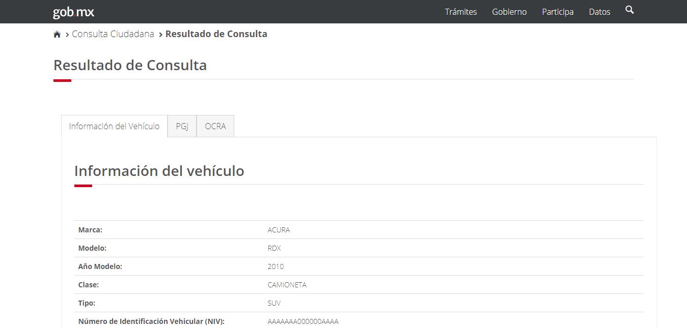 REPUVE: consulta de información de vehículo