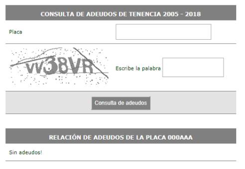 Tenencia vehicular sin adeudos 2018 en el DF
