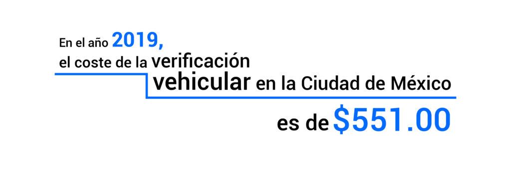 El coste de verificación en la Ciudad de México este 2019 es de $ 551