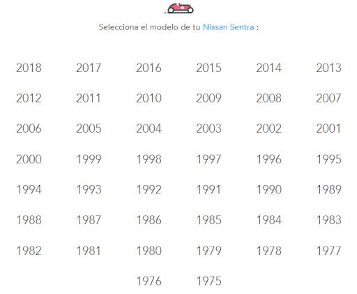 Año de Nissan Sentra para cotizar seguro de auto