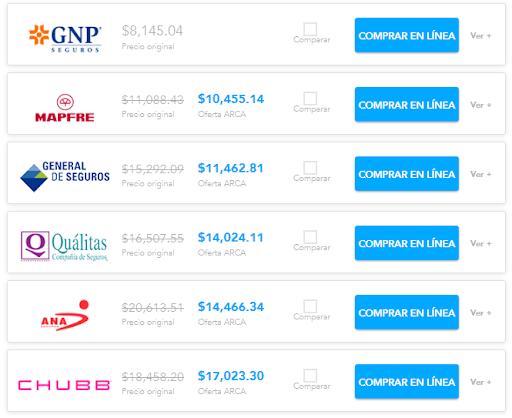 Comparativa de seguros para Nissan Sentra
