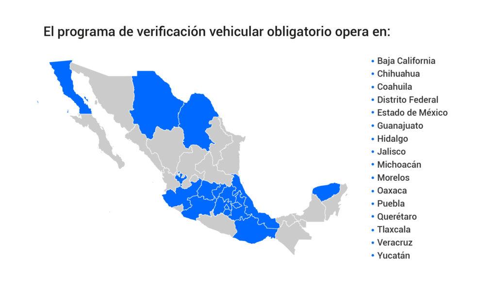 En qué Estados es obligatoria la verificación vehicular
