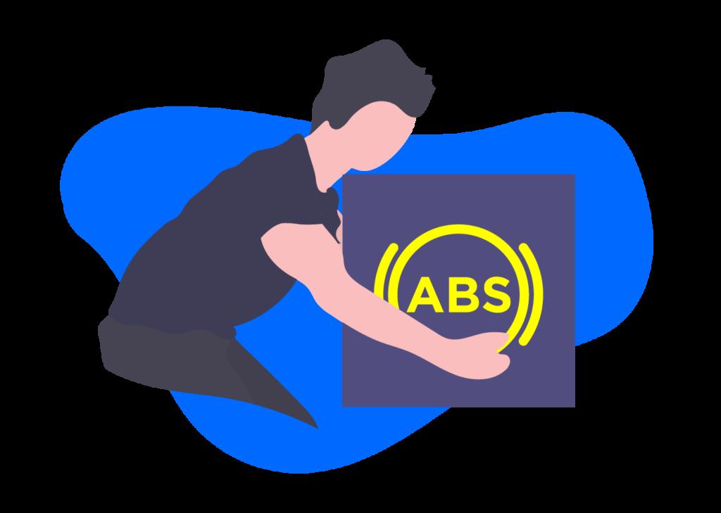 Testigo de antibloqueo de frenos ABS en el tablero de tu auto