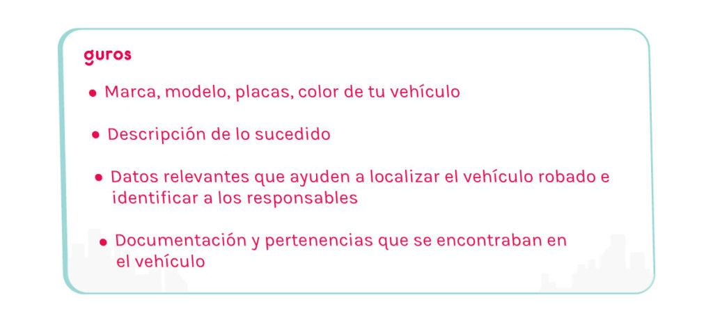 En caso de robo de auto, piensa en todos los datos necesarios para reportarlo ante las autoridades y tratar de recuperarlo lo antes posible.