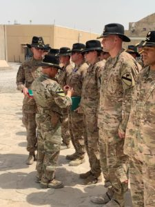 Brig Gen. Miles Brown presents end of tour awards to Soldiers from the 1st Cavalry Division headquarter earlier this month at Kandahar Airfield. The Troopers were deployed to Afghanistan in support of operation Freedom Sentinel.