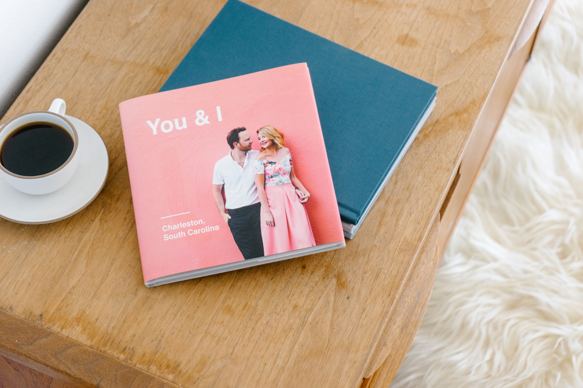 travel photo book of couple's trip to Charleston, NC with pink photo