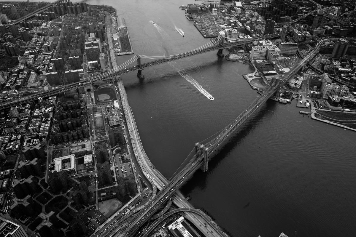 black and white photo by Jason Peterson of overhead view of city