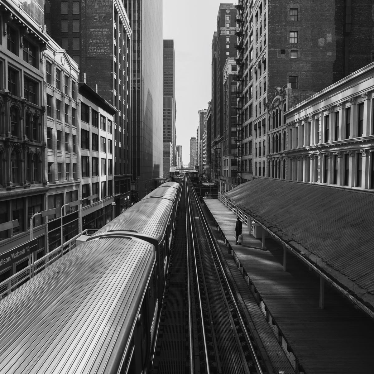 Black and white photo by Jason Peterson of metro train