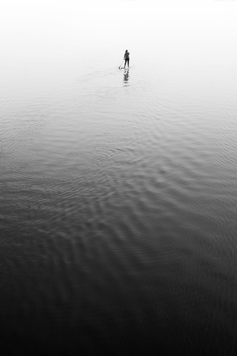 Black and white photo of someone paddle boarding by Jason Peterson