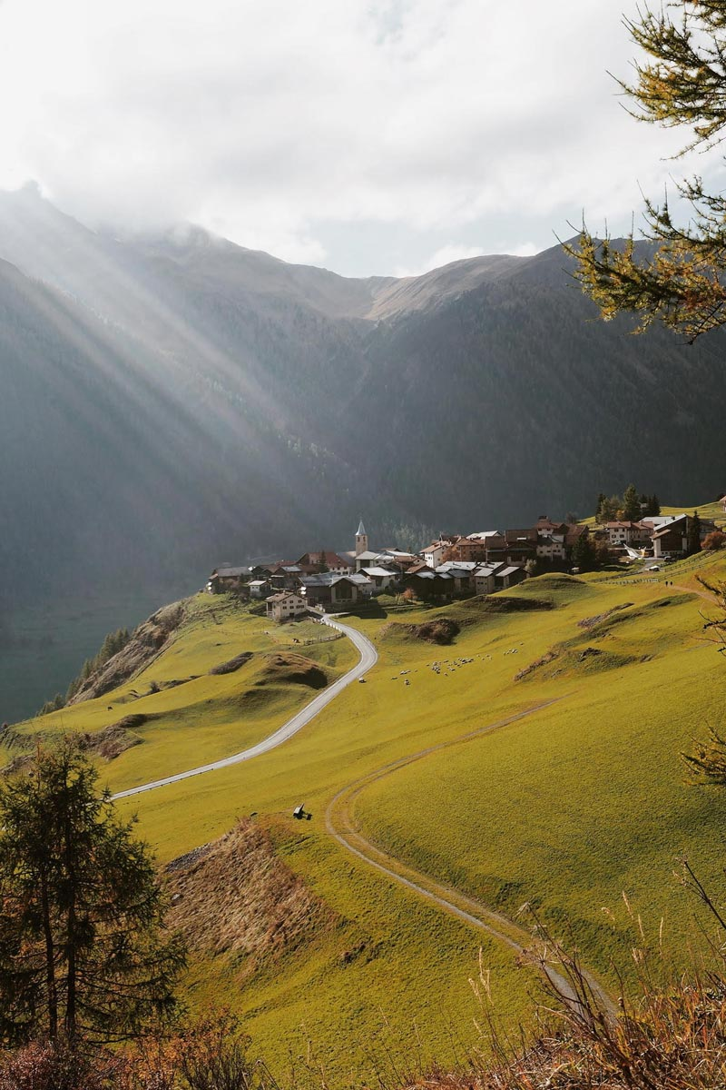 Photo by Martina Bisaz of lush swiss mountain town