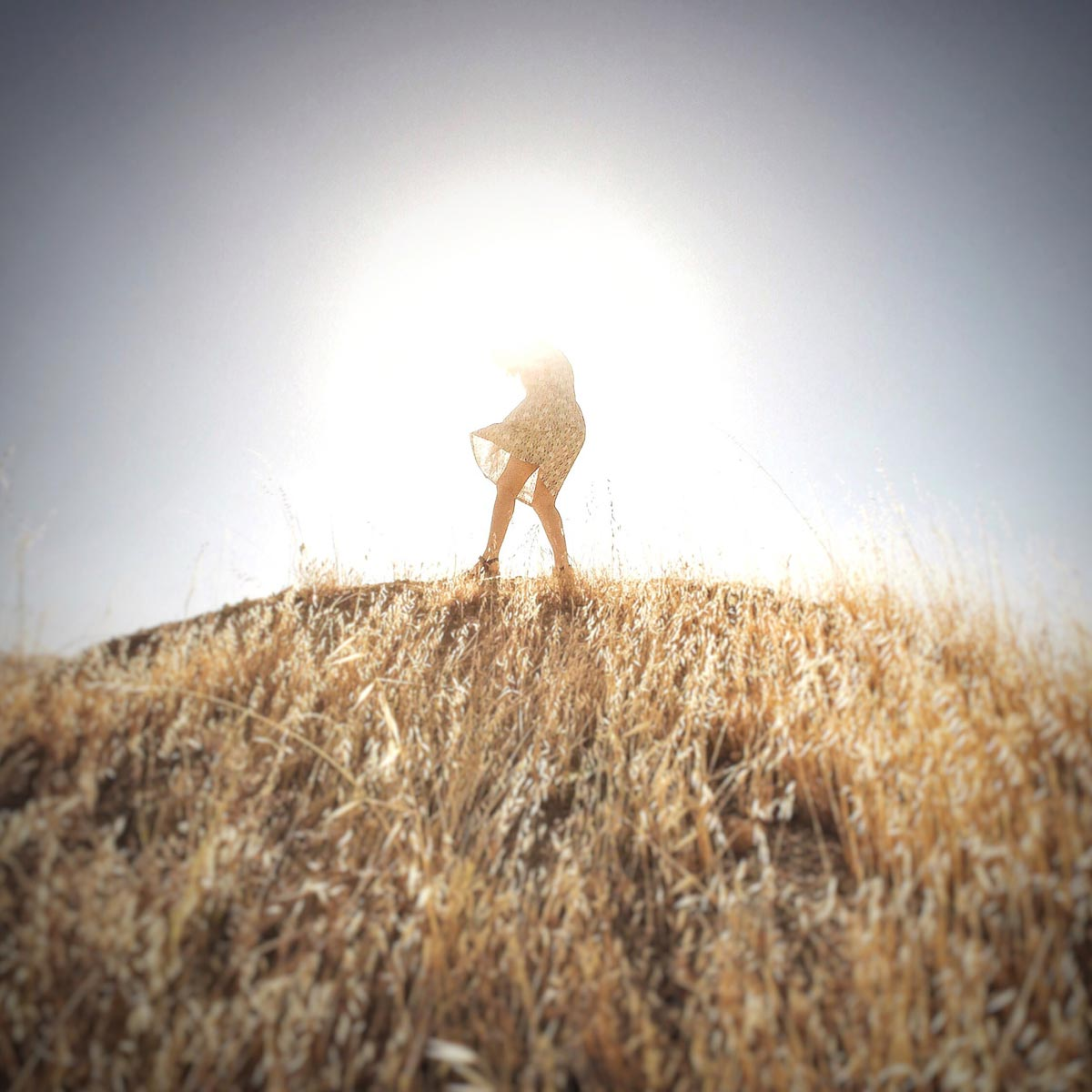 Photo by Jenny Rogers of girl's silhouette on hill in front of bright sun