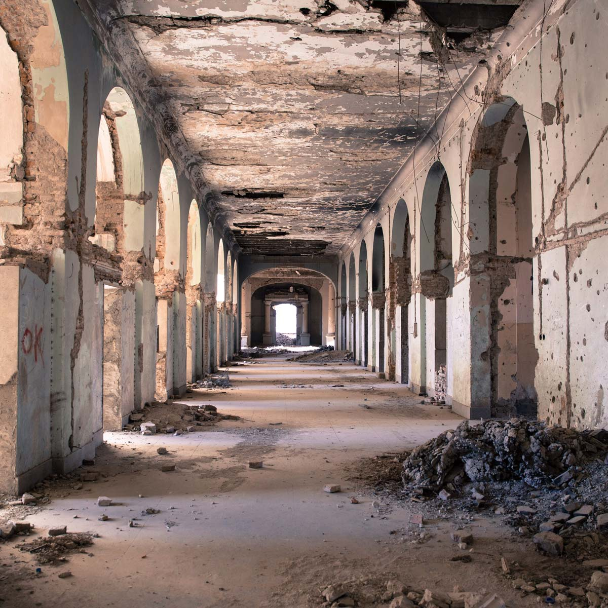 Outer hallway of a deteriorating building