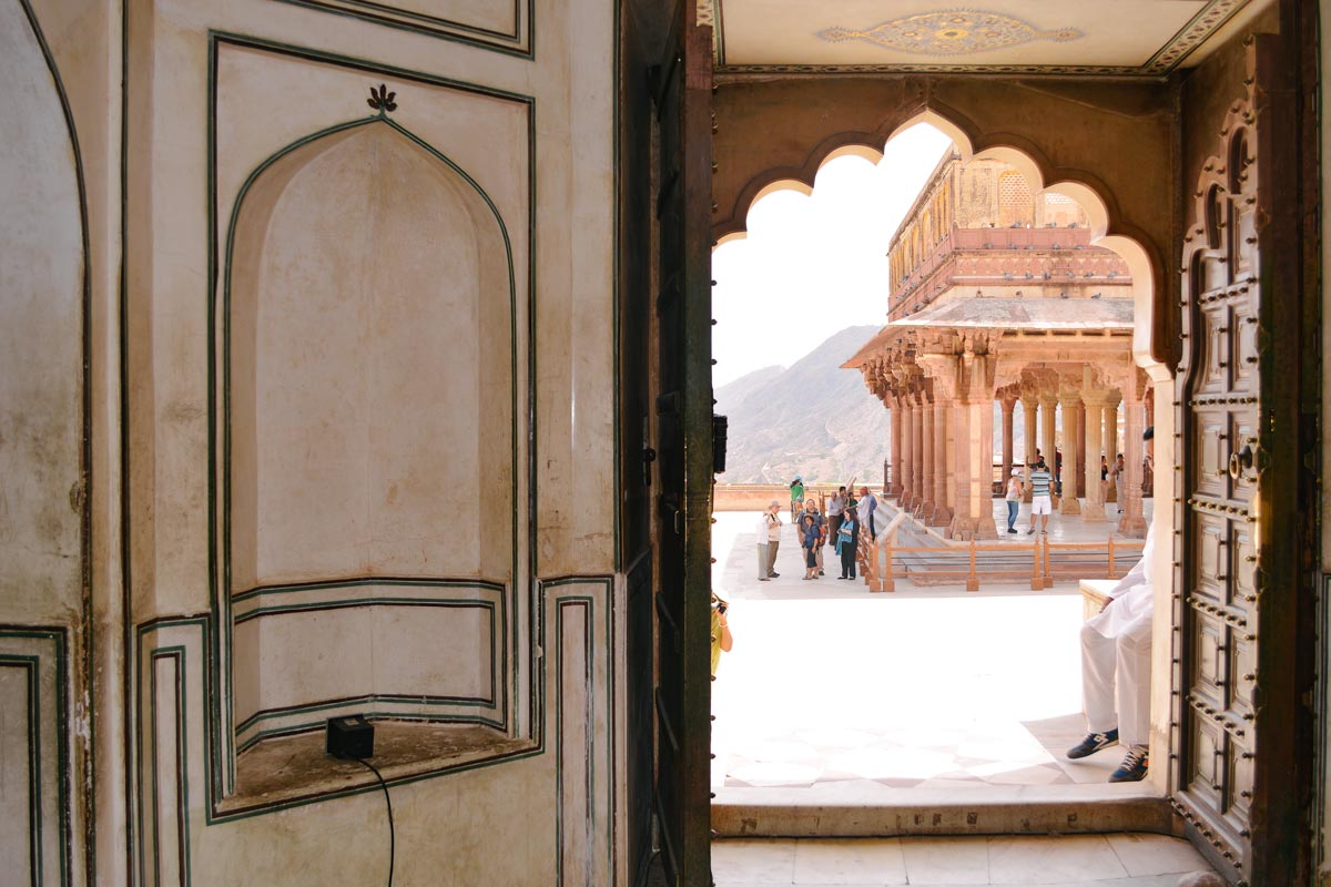 View through an open door in India