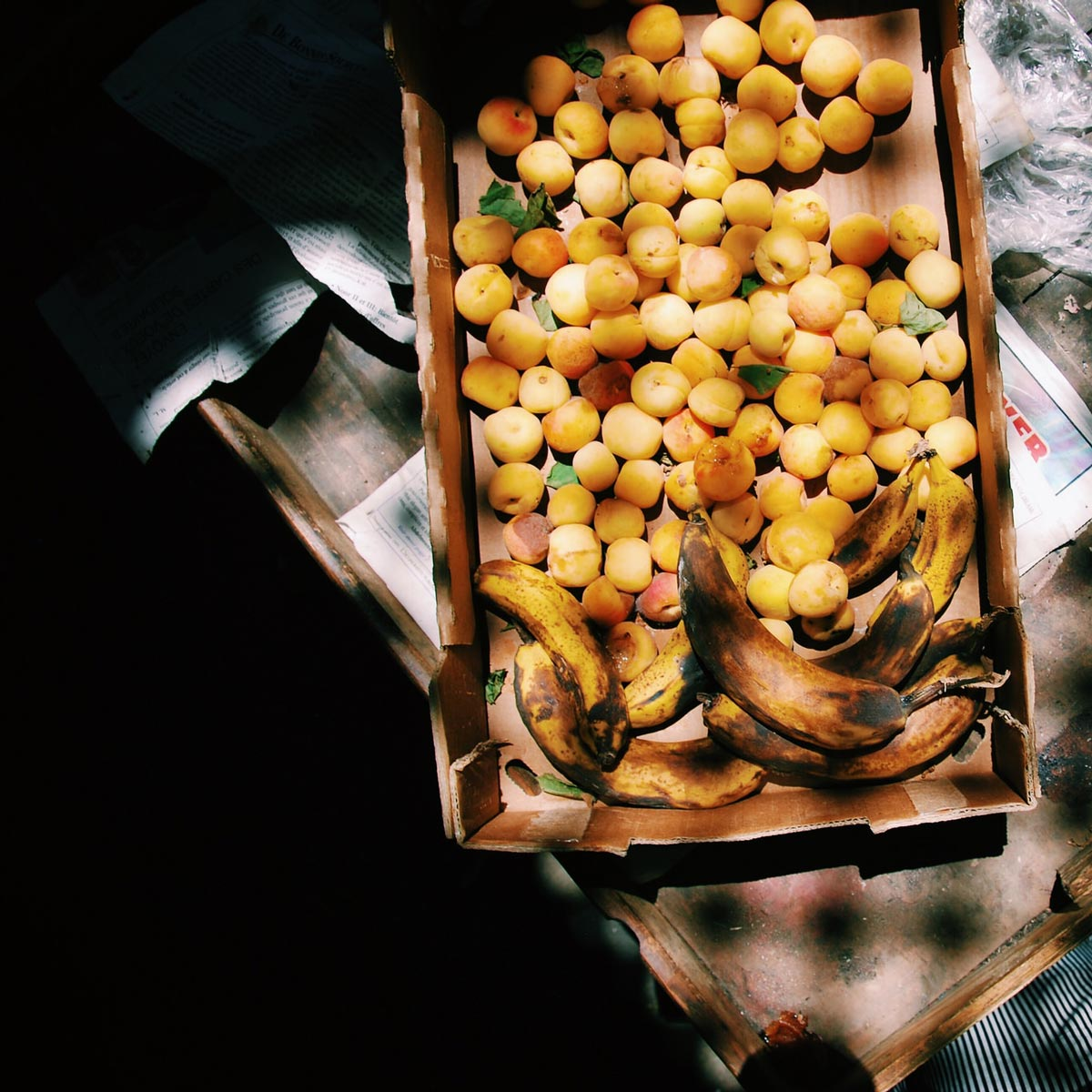 Fruit in a large cardboard box