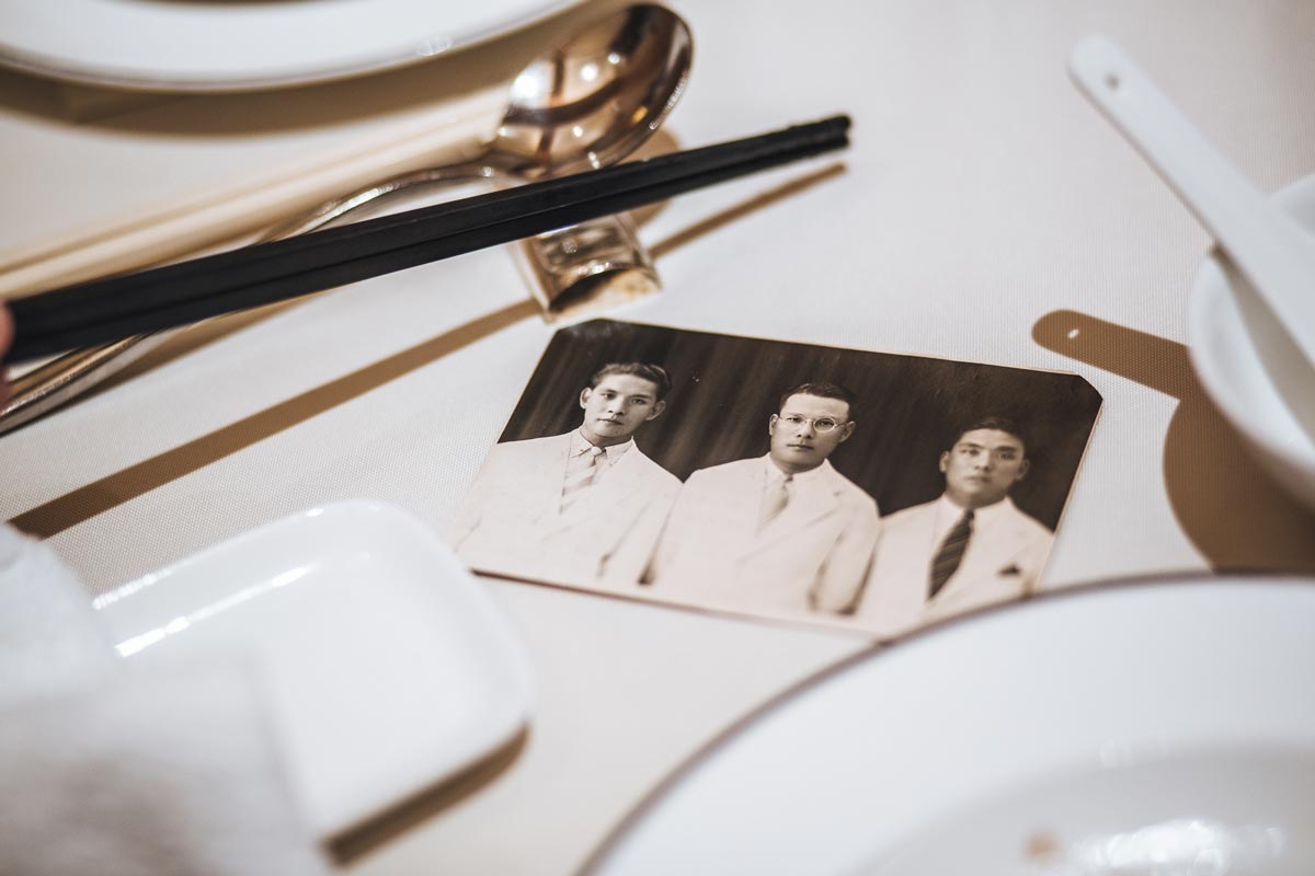 Old photographs laid on a table