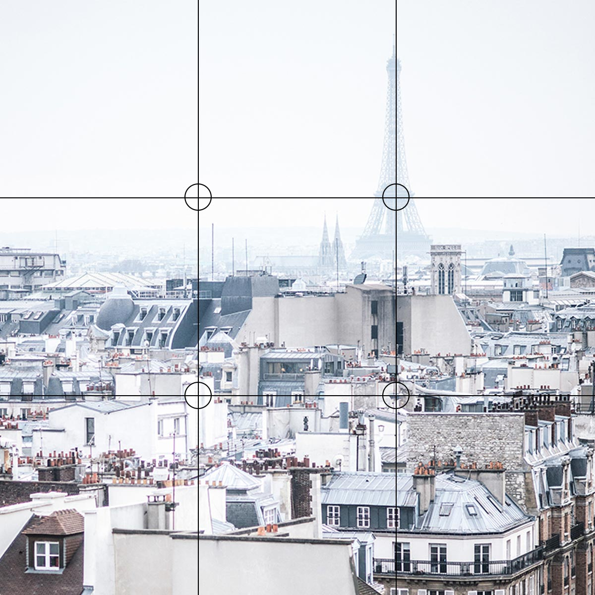 Photo of Paris from a rooftop with the Eiffel Tower in the background