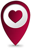 city map pin for the place of love