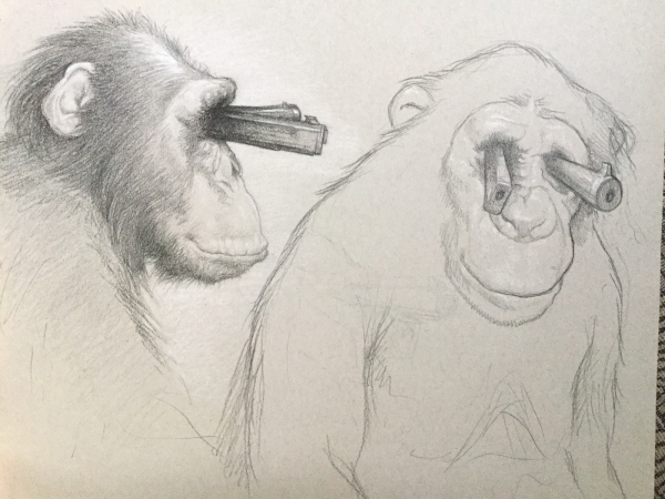 chimp with gun barrell eyes, study by Artist Chris Leib