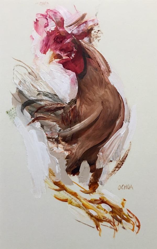 Rooster Study 4-4-18 by Artist Daniel Ochoa