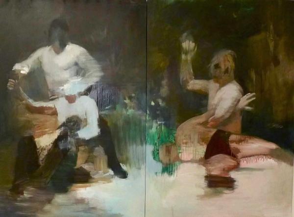 wrestlers by Artist Makiko Furuichi